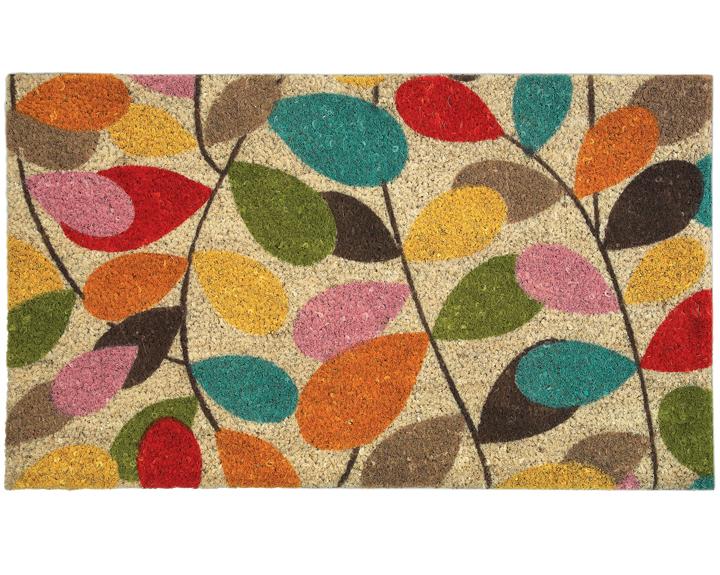 Colourful leaf door mat