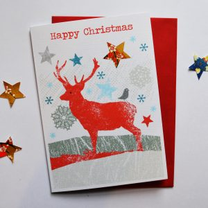 Reindeer hand cut card