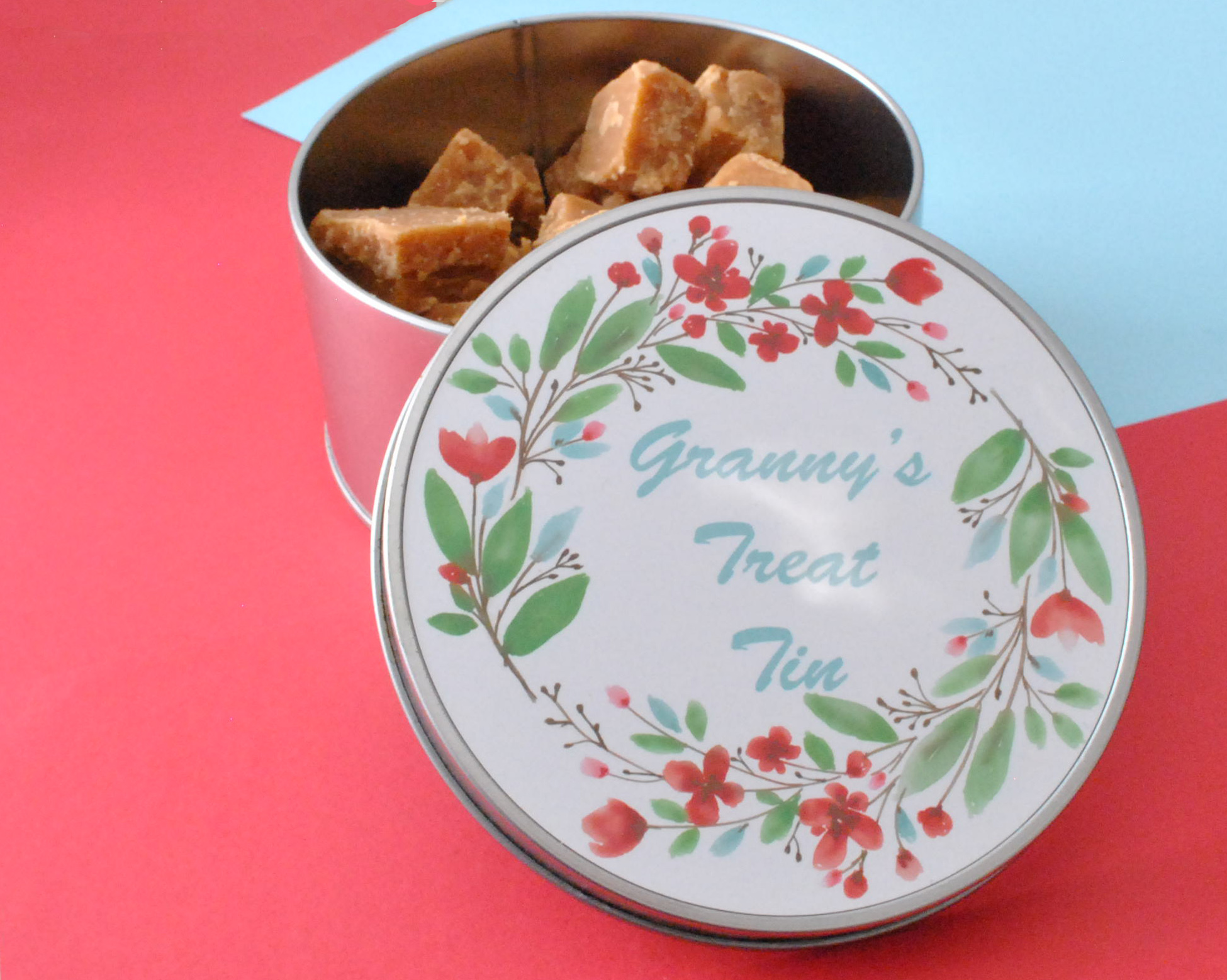 personalised round tin